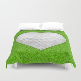 Golf ball heart / 3D render of heart shaped golf ball Duvet Cover