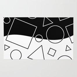 Black and White Geometric Shapes Wave Rug