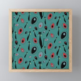 Mid-Century Modern Art Atomic Cats 1.3 Teal Pattern Framed Mini Art Print