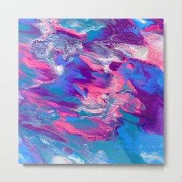 Cosmic Cupcake - Colorful Blue, Purple and Pink Fluid Painting Metal Print