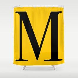 Serif M. Black on Yellow. Shower Curtain