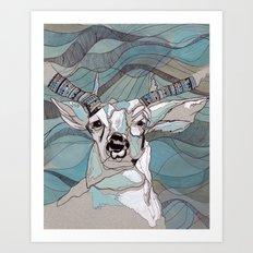 Aqua Deer  Art Print