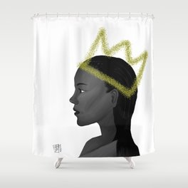 Queen With Crown in Grayscale, Looking to Future Shower Curtain