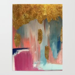 Gold Leaf & Indigo Blue Abstract Poster