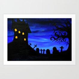 Haunted House Silhouette Art Print