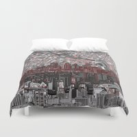 minneapolis Duvet Covers featuring minneapolis city skyline by Bekim ART