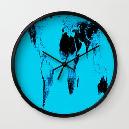 World Map : Gall Peters Blue Wall Clock