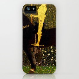 Life Is A Struggle Golden Rider Painting By Gustav Klimt iPhone Case