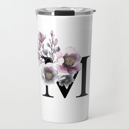 Letter 'M' Magnolia Flower Typography Travel Mug