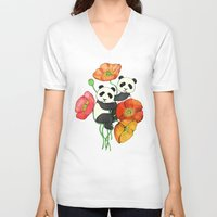 bedding V-neck T-shirts featuring Poppies & Pandas by micklyn