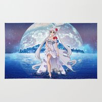 sailormoon Area & Throw Rugs featuring Sailor Moon Crystal Princess Serenity SILVER HAIR by Teo Hoble