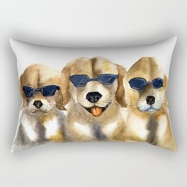 Yellow dogs  in funny glasses Rectangular Pillow