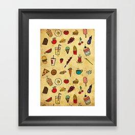 Food Love Pattern Framed Art Print