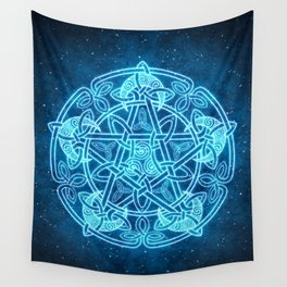 Celtic Moon Celestial Pentacle Wall Tapestry