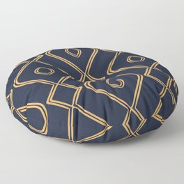 Modern Boho Ogee in Navy & Gold Floor Pillow