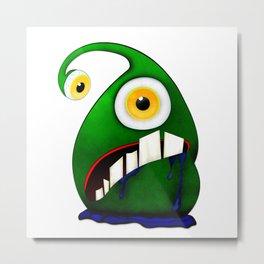 Green big eye monster Metal Print