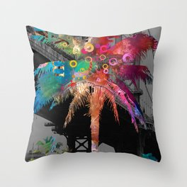 Palm Tree in New York Throw Pillow