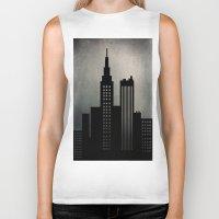 skyline Biker Tanks featuring City Skyline  by ALLY COXON