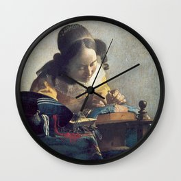 Johannes Vermeer - The Lacemaker Wall Clock