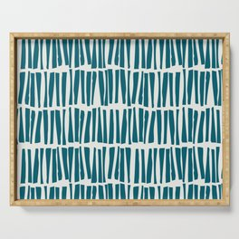 Turquoise Vertical Dash Stripe Line Pattern Sherwin Williams Trending Colors of 2019 Oceanside Dark Aqua Blue SW 6496 on Off White Serving Tray