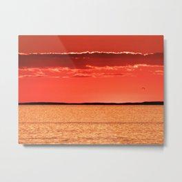 Orange Sky and Sea Metal Print