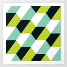Lime green & turquoise hexagon pattern Art Print