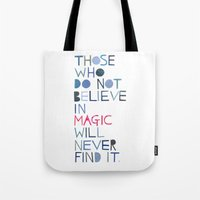 roald dahl Tote Bags featuring Believe in magic... by Madi