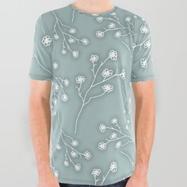 Baby's Breath Flower Pattern - Grey Green All Over Graphic Tee