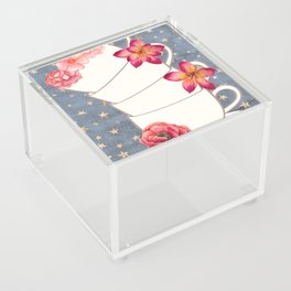 Floral Coffee Cups Acrylic Box