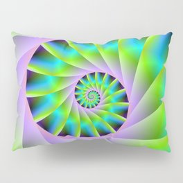 Turquoise Lilac and Green Spiral Pillow Sham