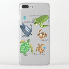 Sea Turtle Types Clear iPhone Case