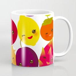 kawaii fruit Pear Mangosteen tangerine pineapple papaya persimmon pomegranate lime Coffee Mug