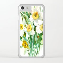 White Daffodils, spring flowers yellow green spring floral design Clear iPhone Case
