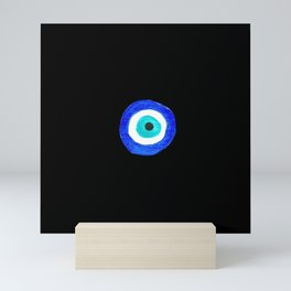 Single Evil Eye Amulet Talisman Ojo Nazar - on black Mini Art Print