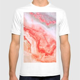 Luxury LIVING CORAL Agate Marble Geode Gem T-shirt