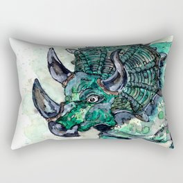 Green Triceratops Dinosaur Rectangular Pillow