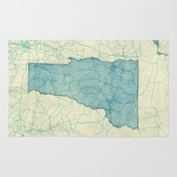 vermont Area & Throw Rugs featuring Vermont State Map Blue Vintage by City Art Posters
