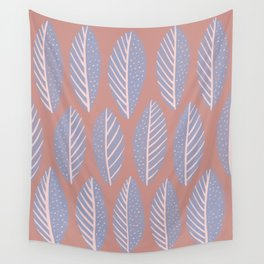 Gray and Pink Leaves Pattern Wall Tapestry