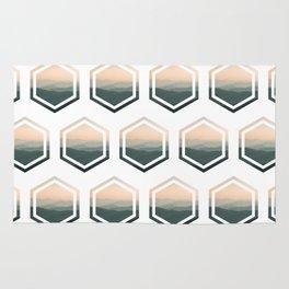 Double Hexagon Landscape - Grey & Peach Pink Rug