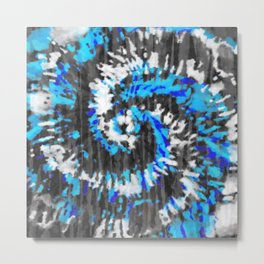 Black White and Blue Tie Dye Metal Print