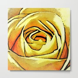 Golden Rose Flower Metal Print