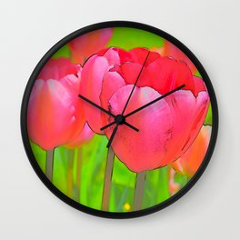 Etched Pink Tulips Wall Clock