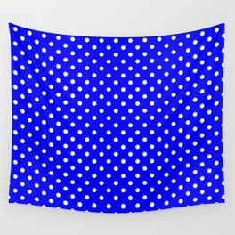 Polka dots White dots over blue Wall Tapestry