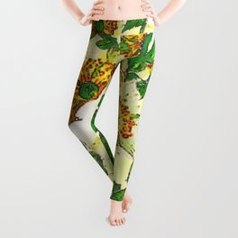 ABSTRACTED APPLE BLOSSOMS PATTERN Leggings
