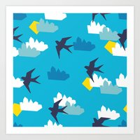 swallow Art Prints featuring Swallow by Maedchenwahn