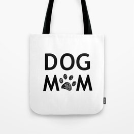 Black paw print with hearts. Dog mom text. Happy Mother's Day background Tote Bag