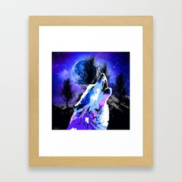 NEBULA WOLF MOON TREE MOUNTAIN SPARKLE Framed Art Print