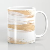 the strokes Mugs featuring Golden Strokes by Caitlin Workman