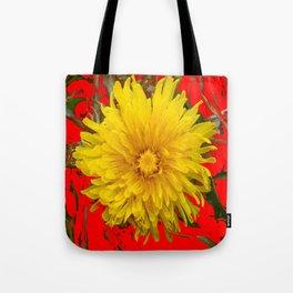 DECORATIVE  YELLOW DANDELION BLOSSOM ON ORGANIC RED ART Tote Bag