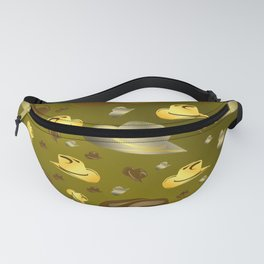 brown, golden pattern of little cowboy hats Fanny Pack